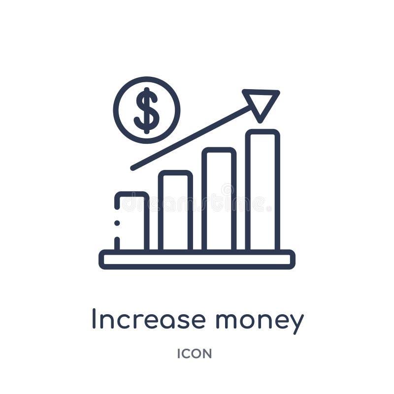 Het lineaire pictogram van het verhogingsgeld van Bedrijfs en financiënoverzichtsinzameling Dun die het geldpictogram van de lijn royalty-vrije illustratie