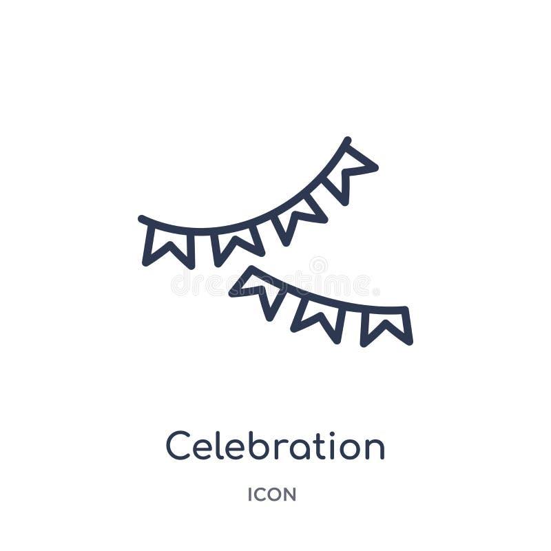 Het lineaire pictogram van vieringsslingers van de inzameling van het Kerstmisoverzicht Dun die de slingerspictogram van de lijnv stock illustratie