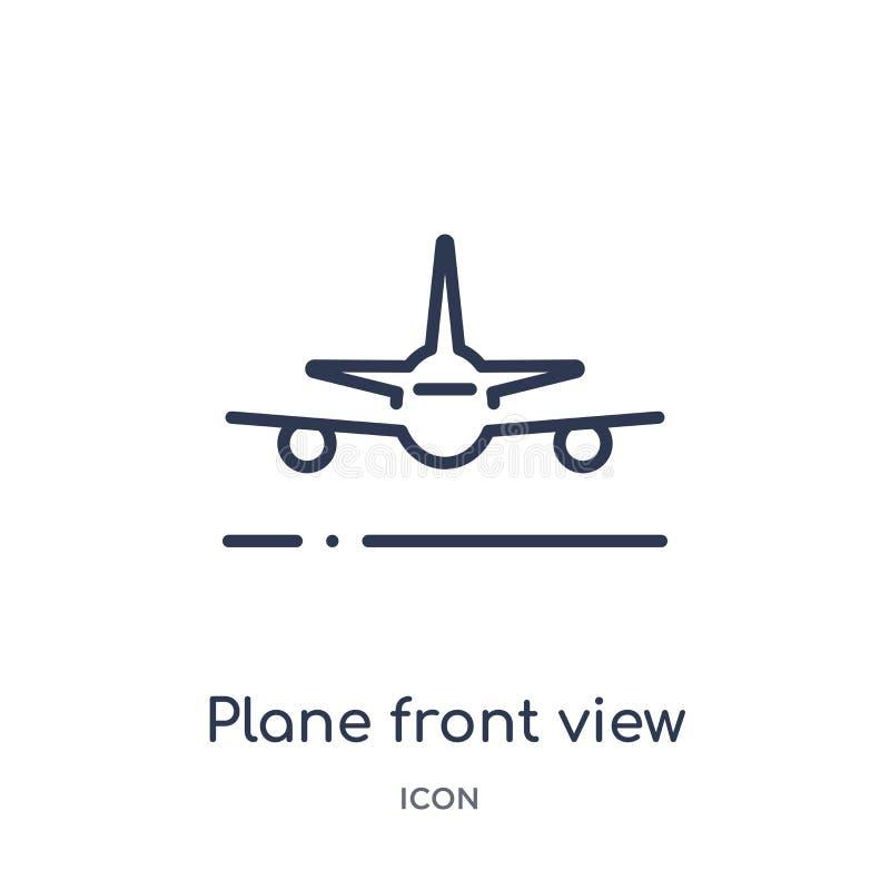 Het lineaire pictogram van het vliegtuig vooraanzicht van inzameling van het Luchthaven de eindoverzicht Dunne die het vooraanzic stock illustratie