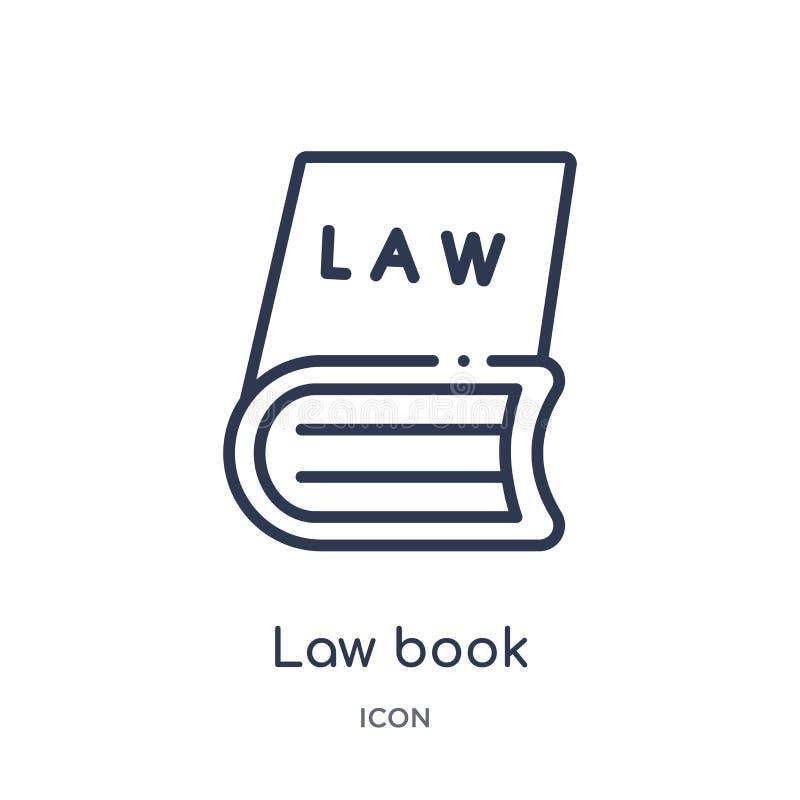 Het lineaire pictogram van het wetsboek van Wet en rechtvaardigheidsoverzichtsinzameling Dun die het boekpictogram van de lijnwet royalty-vrije illustratie
