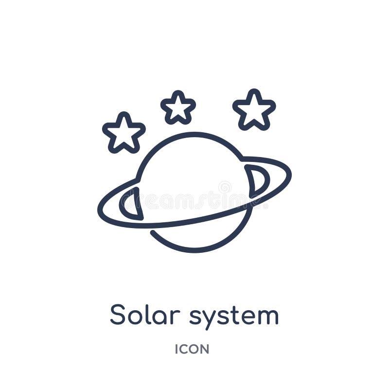 Het lineaire pictogram van zonnestelselplaneten van Algemene overzichtsinzameling Dun die de planetenpictogram van het lijnzonnes vector illustratie