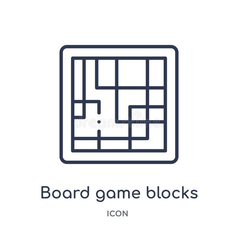Het lineaire raadsspel blokkeert pictogram van de inzameling van het Vermaakoverzicht Het dunne spel van de lijnraad blokkeert pi stock illustratie