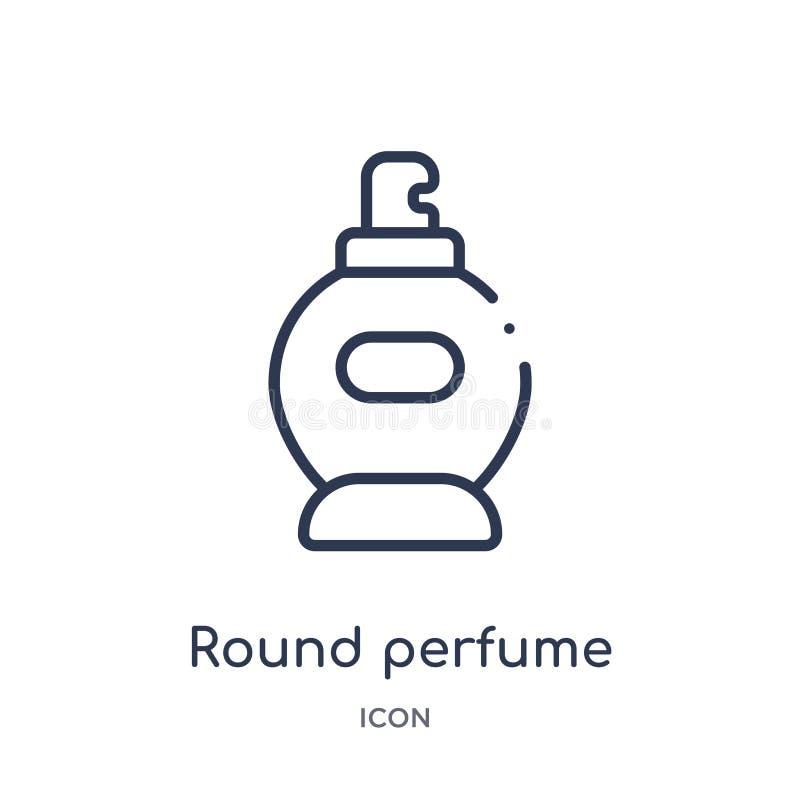 Het lineaire ronde pictogram van de parfumfles van de inzameling van het Schoonheidsoverzicht Dunne die lijn om de vector van de  vector illustratie