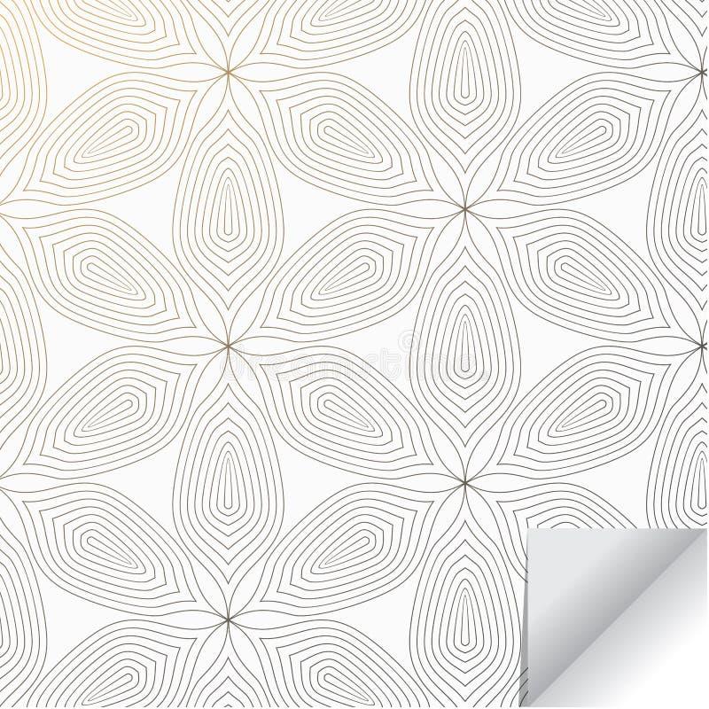 Het lineaire vectorpatroon abstracte lineaire bloem herhalen of de flora die op hexagon vorm omcirkelen verfraaide met document t vector illustratie