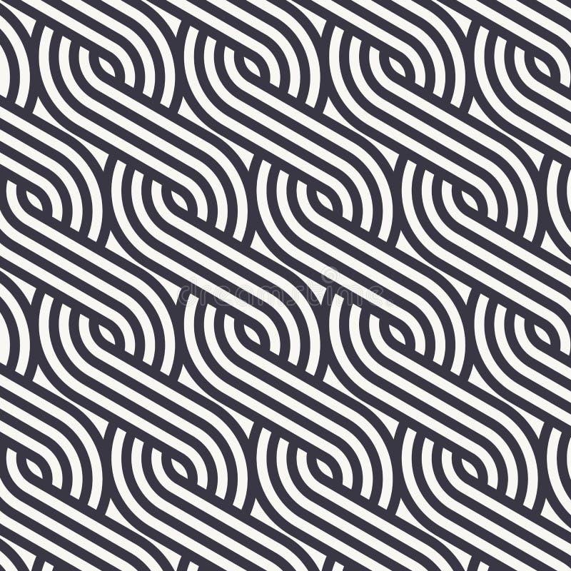 Het lineaire vectorpatroon die de stijlenpatroon herhalen van vlechtenlijnen maakte van een kwart lineair van cirkel royalty-vrije illustratie