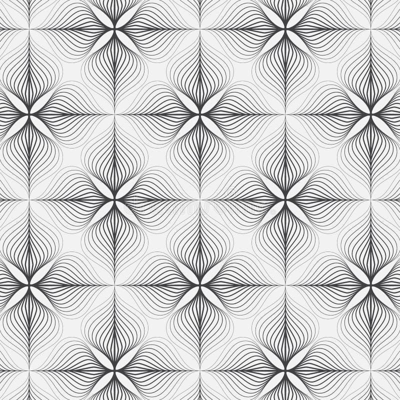 Het lineaire vectorpatroon, herhalend samenvatting een lineair blad of bloeit elk die op vierkante vorm omcirkelen royalty-vrije illustratie