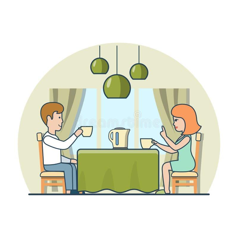 Het lineaire Vlakke huis van de de theekoffie van het gezinslevenpaar vector illustratie