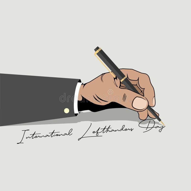 Het linker schrijven 'internationale lefthandersdag ' royalty-vrije illustratie