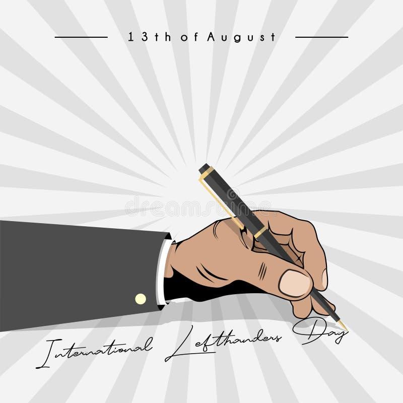 Het linker schrijven 'internationale lefthandersdag ' vector illustratie