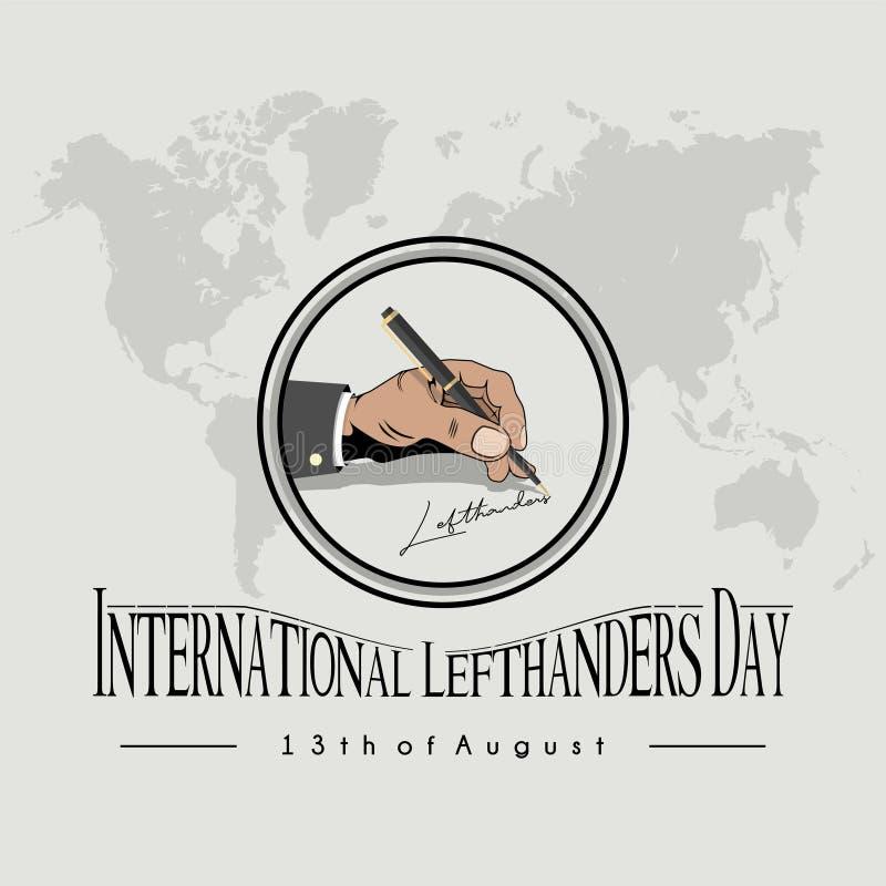 Het linker schrijven 'internationale lefthandersdag ' stock illustratie
