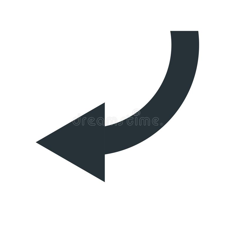 Het linker vectordieteken en het symbool van het pijlpictogram op witte backgro wordt geïsoleerd royalty-vrije illustratie