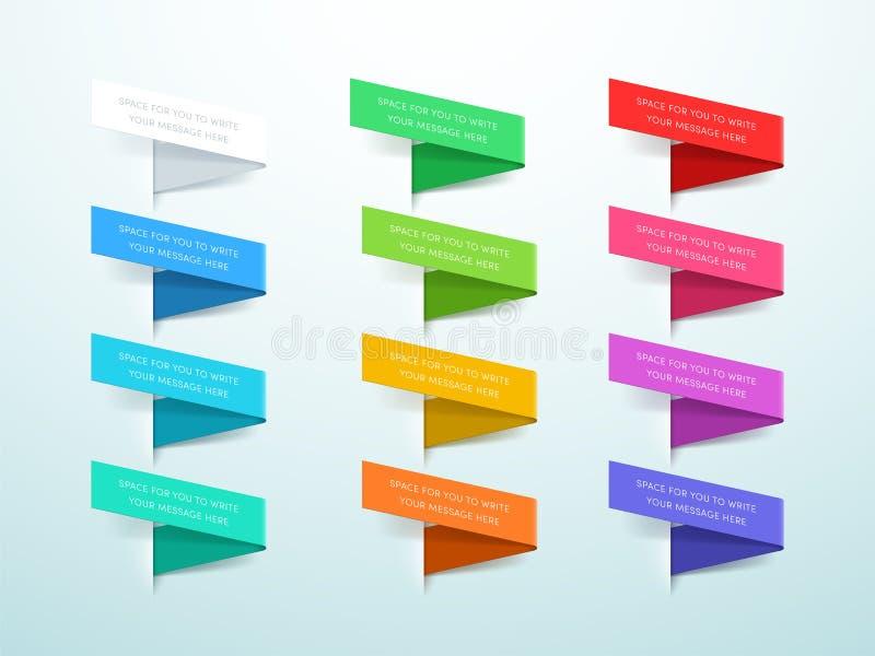 Het lint etiketteert 3d Reeks van 12 Kleurenvector vector illustratie