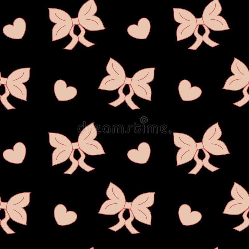 Het lint leuk naadloos patroon van de pastelkleur roze boog royalty-vrije illustratie