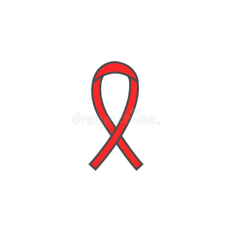 Het lint stevig pictogram van AIDS en HIV, kankerlint royalty-vrije illustratie