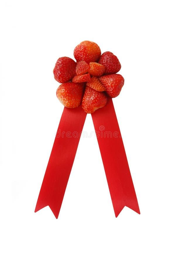 Het lint van de prijs van aardbeien royalty-vrije stock afbeelding