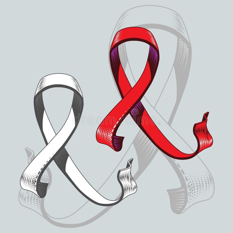 Het lint van trouw aan gezondheidsbehoud wordt uitgevoerd in rode kleur grafisch in volume vector illustratie
