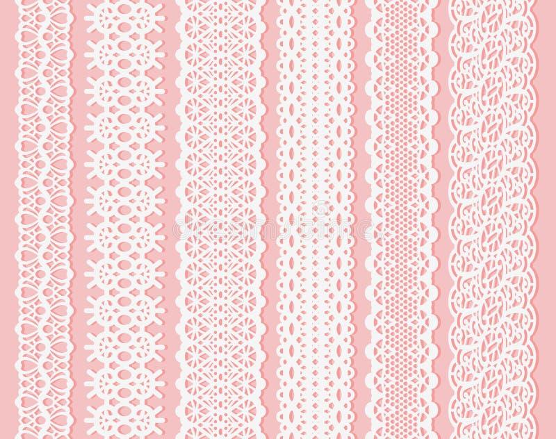Het lintreeks van het Blockprint brede kant Witte Ontwerpelementen die op Roze Naadloos patroon Als achtergrond geschikt voor las vector illustratie