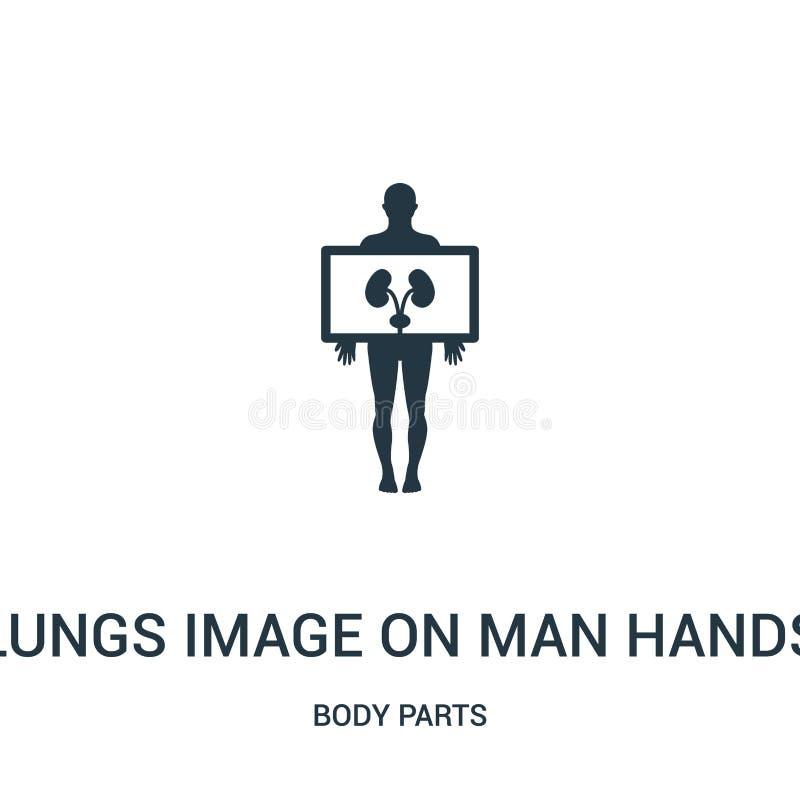 het longenbeeld op de mens overhandigt pictogramvector van lichaamsdeleninzameling Het dunne beeld van lijnlongen op de vector va royalty-vrije illustratie