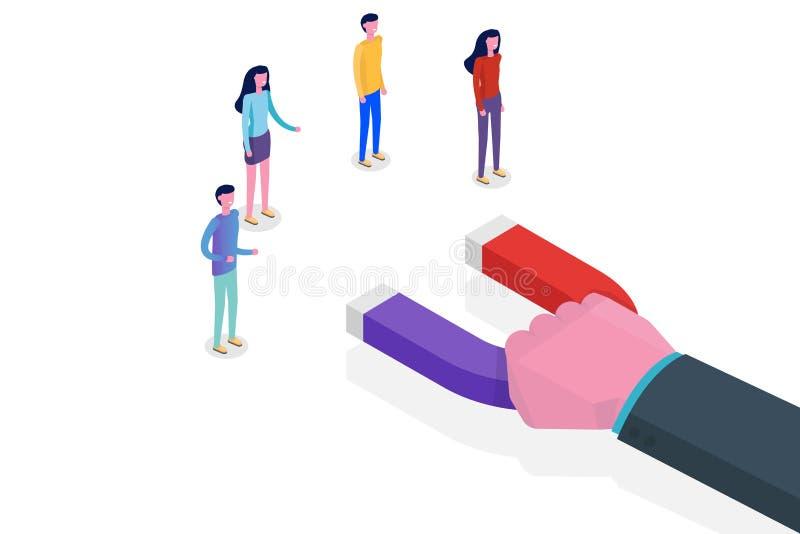 Het lood produceert, Binnenkomend Marketing Magneet isometrisch concept vector illustratie