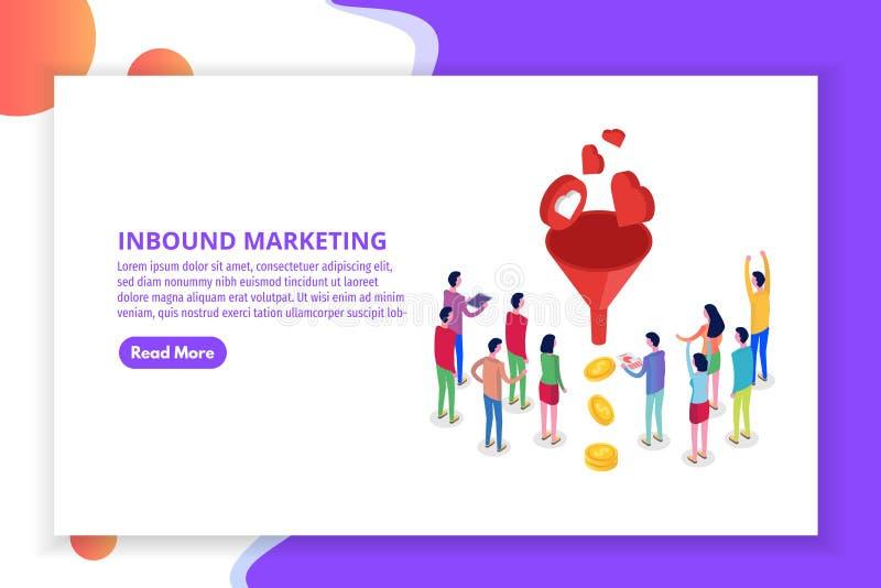 Het lood produceert, Binnenkomend Marketing Magneet isometrisch concept stock illustratie