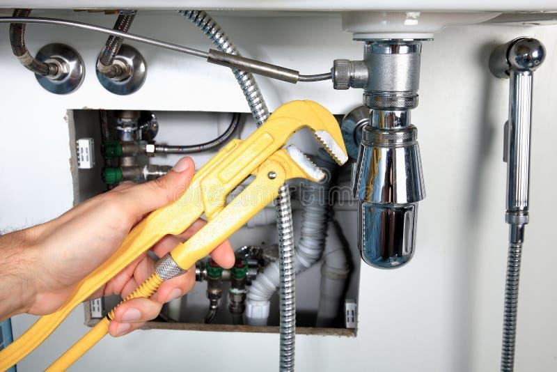 Het loodgieterswerkwerk en sanitaire techniek stock afbeelding