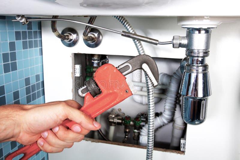 Het loodgieterswerkwerk en sanitaire techniek stock fotografie