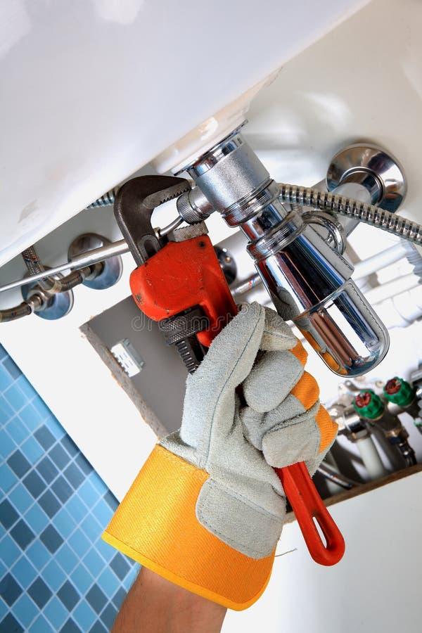 Het loodgieterswerkwerk en sanitaire techniek stock foto's