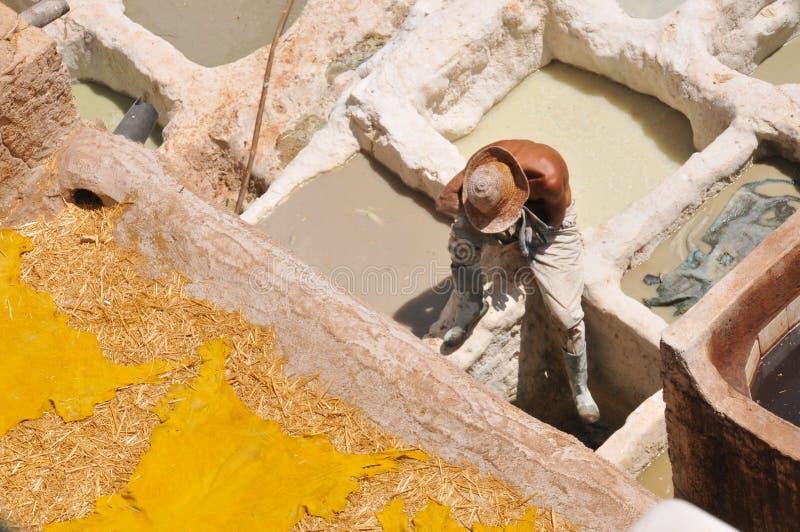 Het looien van het leer in Fez, Marokko royalty-vrije stock afbeelding