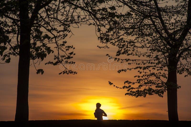 Het lopen bij Zonsondergang royalty-vrije stock foto's