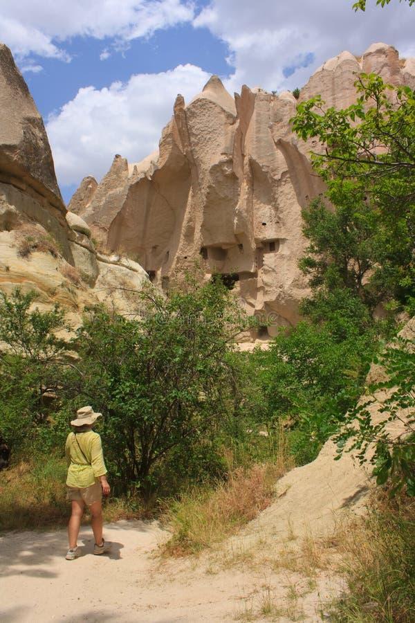 Het lopen in Cappadocia royalty-vrije stock afbeelding