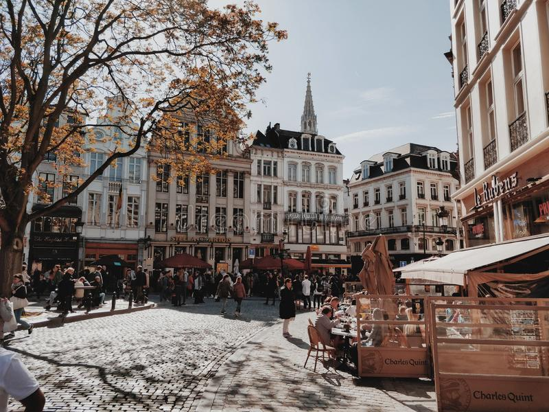 Het lopen door de mooie straten in Brussel stock afbeelding