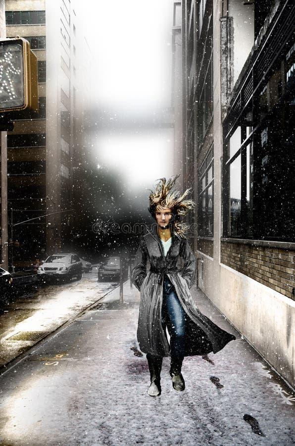 Het lopen door de straat onder de sneeuw vector illustratie