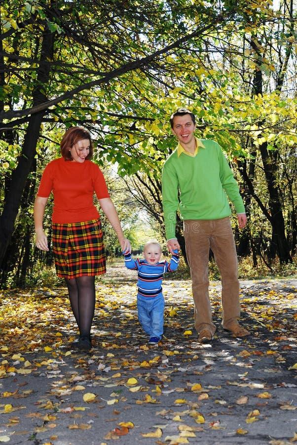 het lopen door het park stock foto
