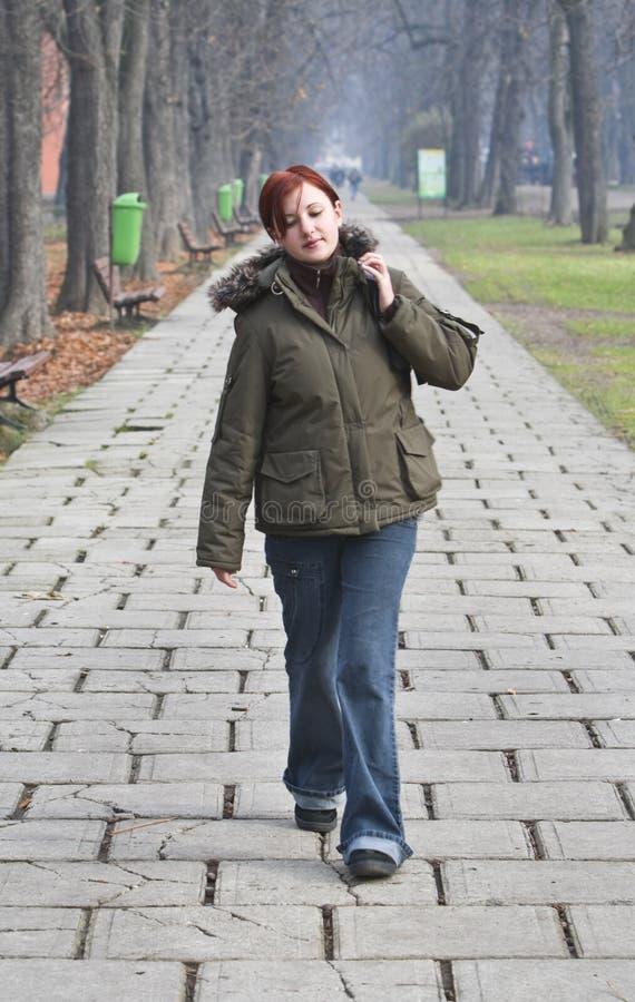 Het lopen in een de herfstpark royalty-vrije stock foto's