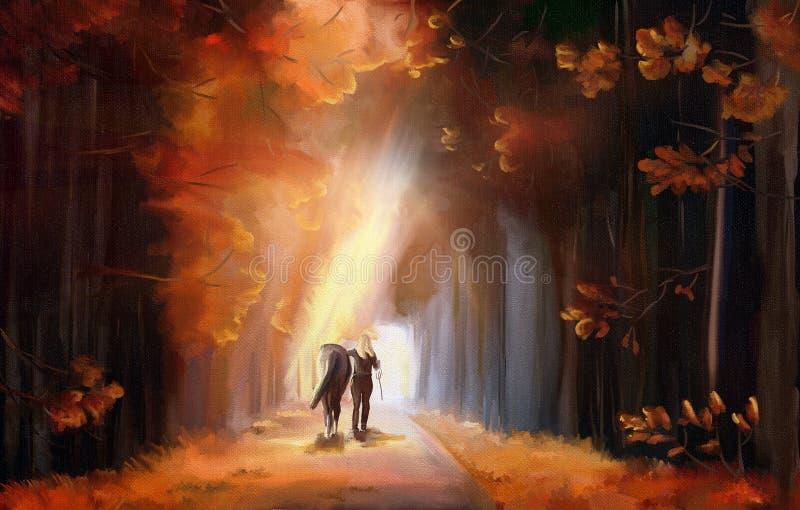 Het lopen in een park stock illustratie