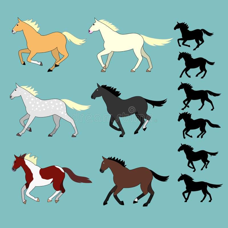 Het lopen geplaatste paarden stock illustratie