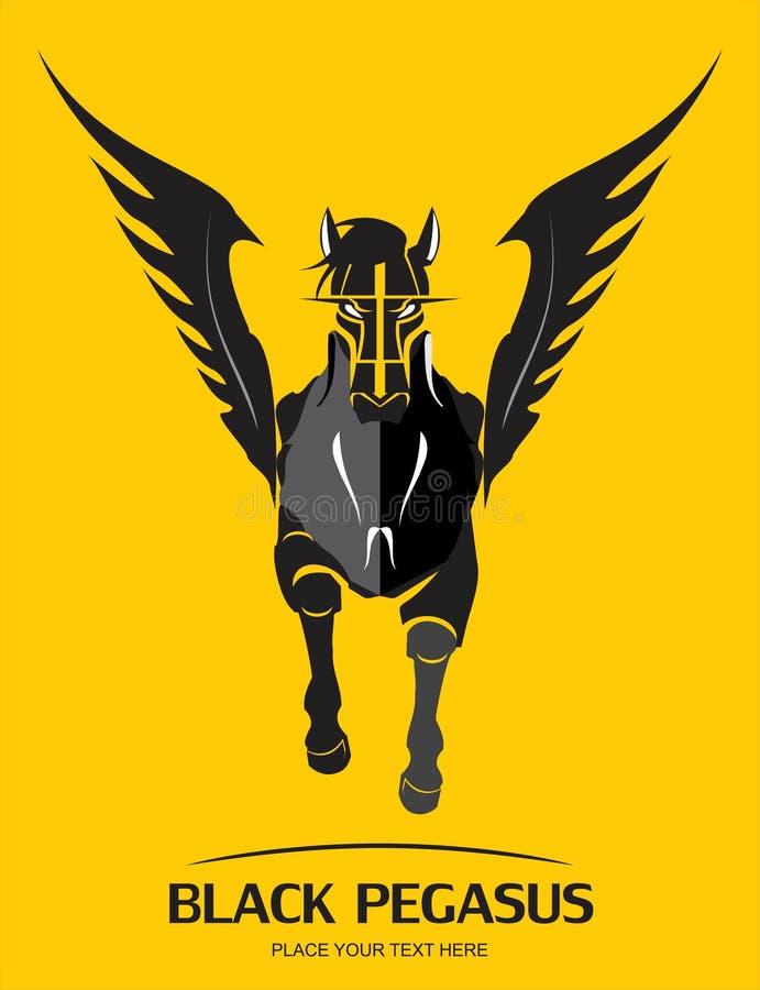Het lopen gevleugeld paard vooraanzicht van Zwarte Pegasus royalty-vrije illustratie