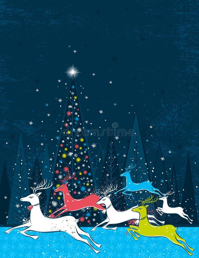Het lopen Kerstmisdeers in het blauwe bos stock illustratie