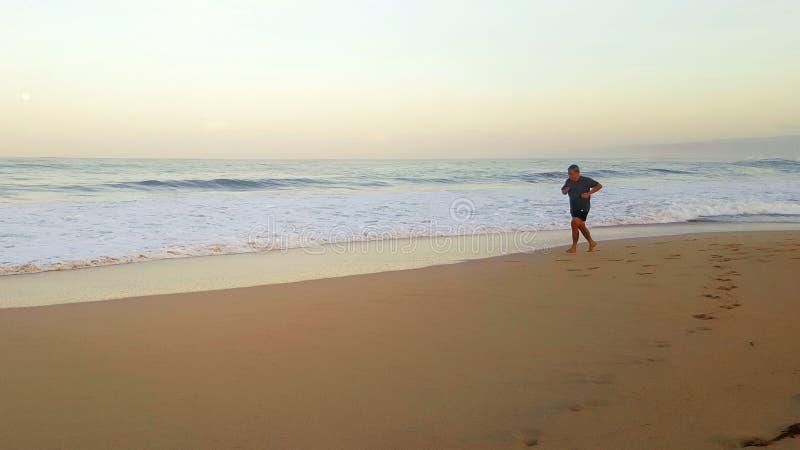 Het lopen langs de kust bij de ochtend stock fotografie