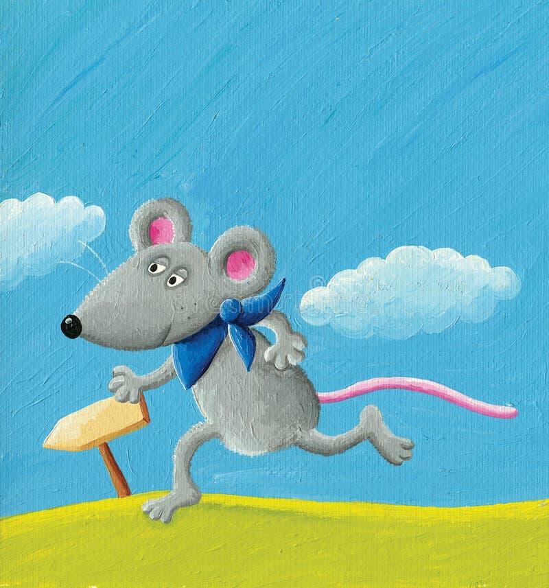 Het lopen muis royalty-vrije illustratie