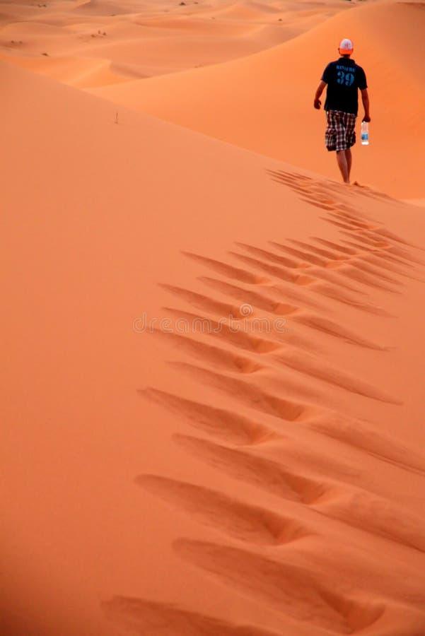 Het lopen op de zandduinen royalty-vrije stock afbeelding