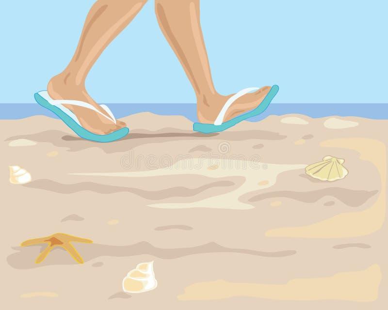 Download Het lopen op het strand vector illustratie. Illustratie bestaande uit geel - 14436403