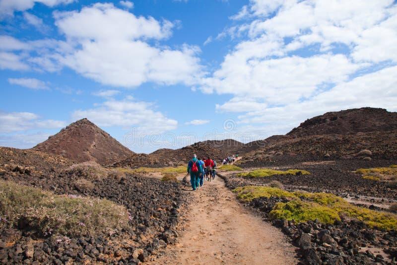 Het lopen op Isla DE Lobos stock afbeelding