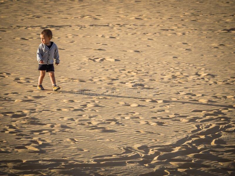 Het lopen over zandduinen royalty-vrije stock foto's