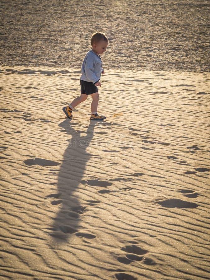 Het lopen over zandduinen royalty-vrije stock foto