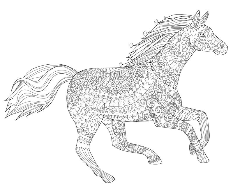 Het lopen paard in zentanglestijl stock illustratie
