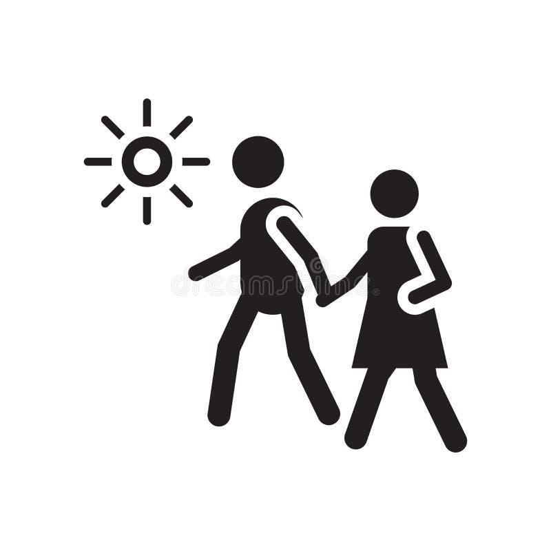 Het lopen pictogram vectordieteken en symbool op witte achtergrond, het Lopen embleemconcept wordt geïsoleerd vector illustratie