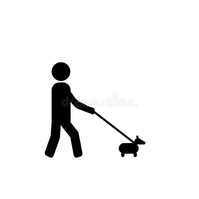 Het lopen het pictogramvector van het Hondteken op witte achtergrond, Walki wordt geïsoleerd die royalty-vrije illustratie
