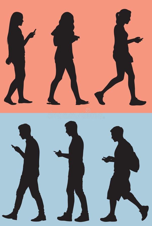 Het lopen terwijl Texting vector illustratie
