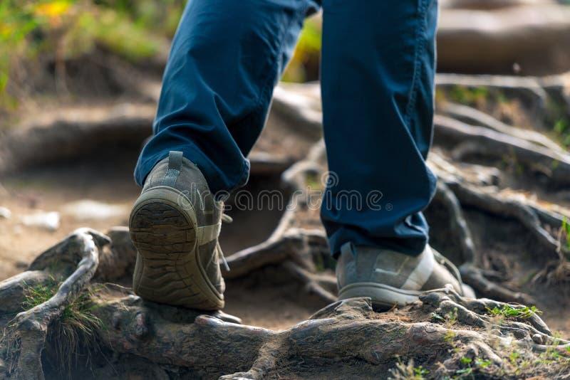 het lopen trek in het park, voet van een toeristenclose-up royalty-vrije stock foto's